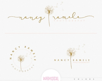 Dandelion For Photographer- Premade Photography Logo and Watermark, Classic Elegant Script Font gold glitter dandelion Calligraphy Logo