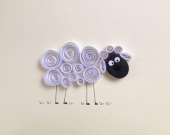 Quilled sheep greeting card, Irish sheep card, white fluffy sheep card