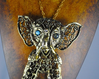 Vintage Articulated Elephant Pendant