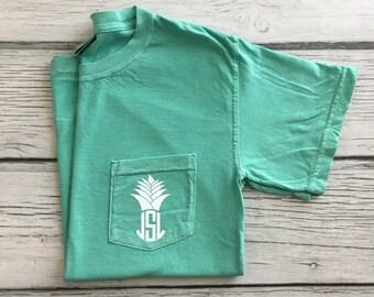 Pineapple Monogram Tee, Comfort Colors Shirt, Comfort Colors T Shirt, Monogram T Shirt, Monogram Pocket, Monogram Gift, Pineapple Monogram