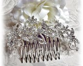 Butterfly hair comb, bridal crystal hair comb.  Butterflies and flowers wedding hair accessory.