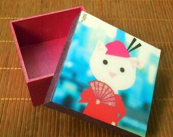 Geisha Cat. Jewelry Box.