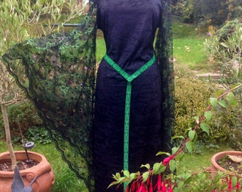 Celtic samhain pentacle Medieval black goth witch  renaissance pagan handfasting wedding gown / halloween party dress  14 to 20