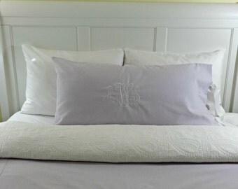 Standard Queen King Linen Tie Closure/ Pillow Sham Monogrammed/ Personalized Linen Euro Pillow Sham