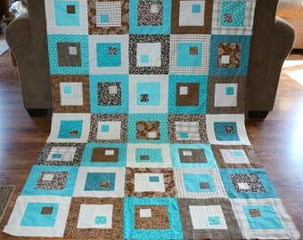 Teal Blue, Brown and White Square within a Square Quilt Top