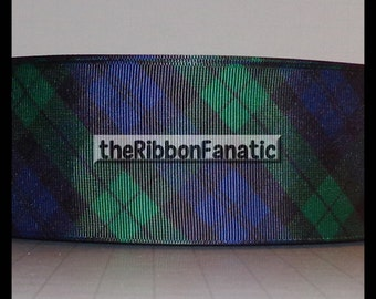 "3 yds 2.25"" Blackwatch Plaid Navy Hunter Green Black Preppy Grosgrain Ribbon"