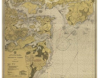 Portsmouth Harbor 1945 - Kittery Gerrish Island Newcastle The Wentworth New Hampshire & Maine Nautical Map - Harbors 1 - 329 Reprint