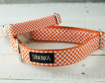 Tennessee Volunteers Dog Collar, Orange and White Check - Go Vols