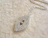 Silver rhinestone leaf necklace, bridesmaid, gift, bridal party, jewelry, necklace, rhinestone, rhinestone leaf, woodland, hostess gift
