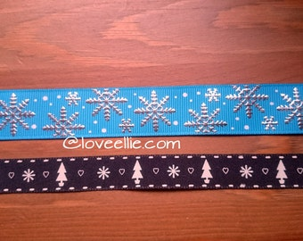 Silver Snowflake on Blue Grosgrain Ribbon  OR White Trees, Hearts and Snowflakes on Black Cotton Ribbon - Christmas Ribbon