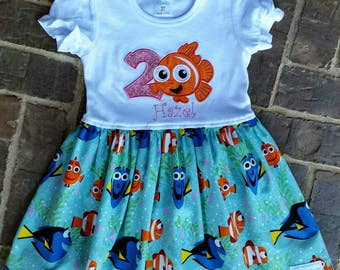 Girl's Nemo dress with name and birthday number