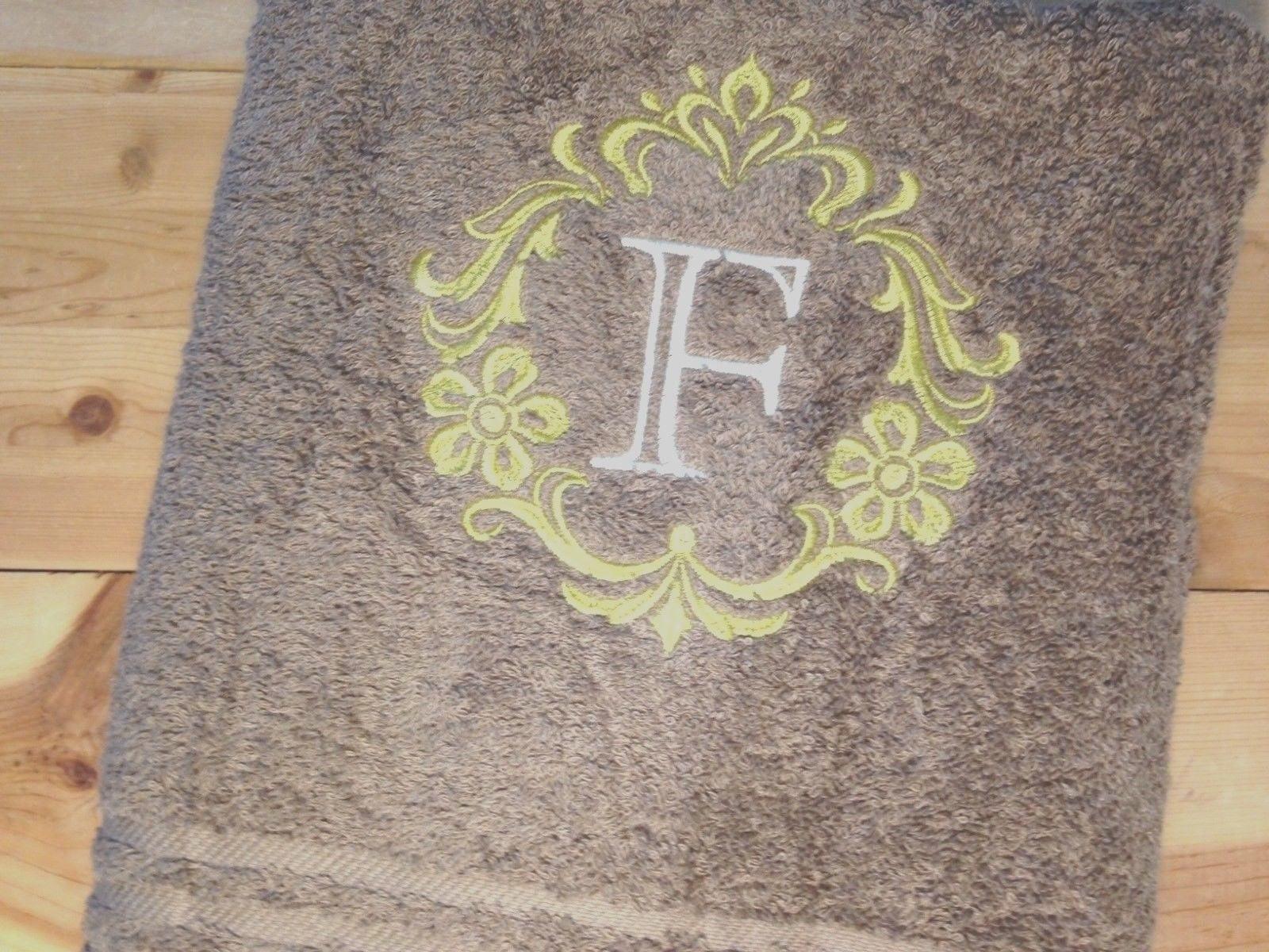 Monogram bathroom towels - Elegant Damask F Monogram Bath Towel Tan Gold Cream Embroidered Bathroom Towel Personalized Monogrammed Towels Embroidered Bath Towels