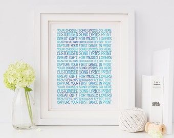 Song Lyric Wall Art song lyrics wall art custom lyric art song lyrics print