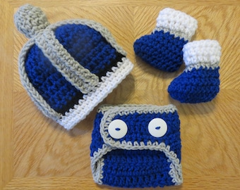 Crochet ROYAL KING Set, Crown, Diaper Cover, Boots, bringing home baby, shower gift, photo props, Preemie, Newborn, 0-3 months, baby boy