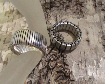 Modernist Minimal Sterling Silver Stretch Rings Womens Medium Excellent