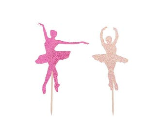 Ballerina Cupcake Toppers-ANY Glitter Color-Ballet Dance Toppers