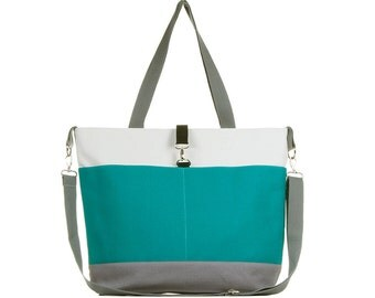 Teal and Gray Color Block Diaper Tote Bag - The Moxie
