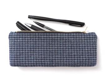 Pencil Case Pouch Short Pencil Case Basketweave Navy Blue