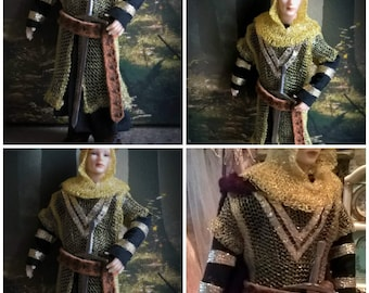 Dollhouse King Arthur in Gold metal Chain mail wearable clothing & accessories for your Knight or King dollhouse miniature in 1:12th  scale