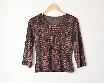 vintage brown velvet 3/4 sleeves shirt top 80s // S-M