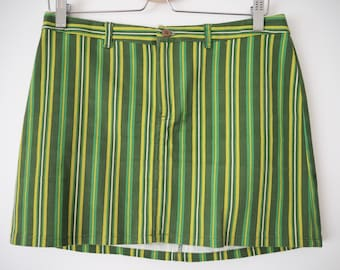 Groovy green striped mod mini skirt M