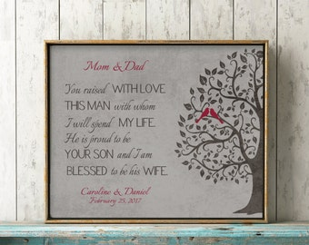 Mother of Groom Gift from Bride, Personalized Gift for Mother in Law on Wedding Day, You Raised with Love This Man Poem Burgundy or CUSTOM