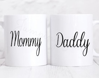 Mommy and Daddy mug set, new parents gift, new parents coffe mug set