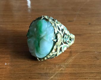 Antique Chinese Carved Jade and Silver Ring, Ornate Filigree