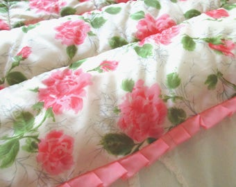 Gorgeous Satiny Hollywood Glam Fluffy Quilt Throw Pink Roses Ruffle Buy 1 or 2