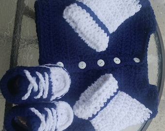 Crocheted baby sweater a slipper/sneakers