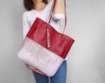 Red and white leather tote bag.  Summer leather shoulder bag. Red leather purse. Leather handbag. Structured leather tote bag.