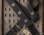 """Highway Star black leather 2"""" guitar strap- Priority shipping"""