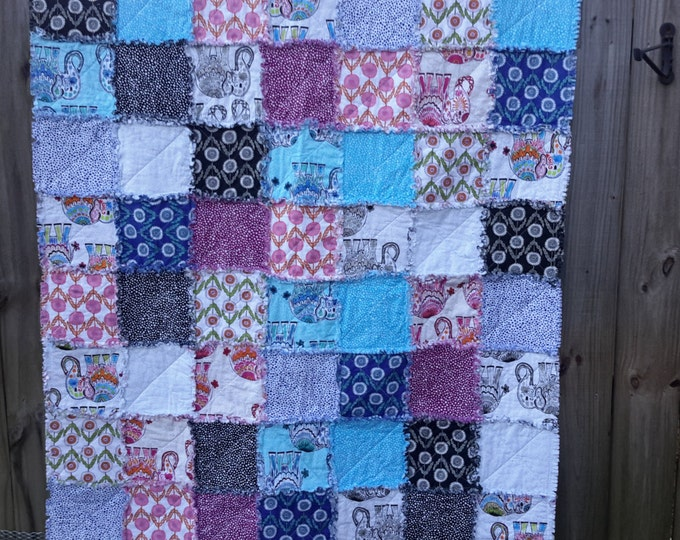 Rag Quilt - Jules and Indigo Designer Fabric - Exotic and Fresh - Lux Colors and Patterns - Magenta, Lime Green, Elephants - Reversible