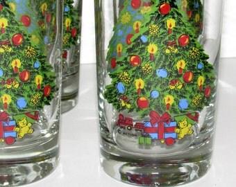 6 Christmas Glasses, Action/Carlton Christmas, 1980's