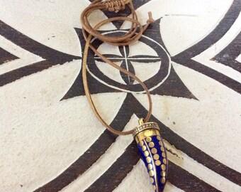 Tibetan brass and lapis Lazuli horn of plenty pendant necklace