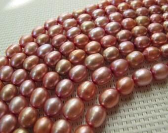 7-9mm Metallic Pink Freshwater Rice Pearl PL115