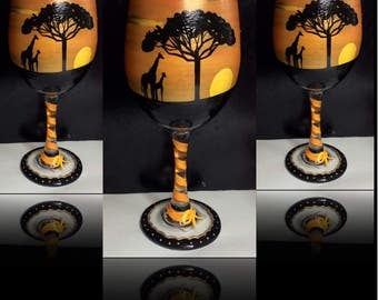 Giraffe Wine Glass painted giraffe African Giraffe