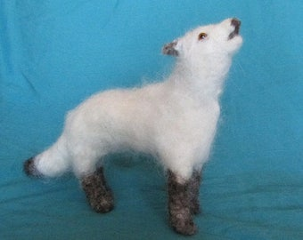 White Or Gray Wolf Howling in Needle Felted Wool or Alpaca