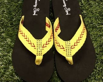 Softball Sandals Softball Flip Flops Fabric Stitch FLAT Size 6 7 8 9 10 11 12 NEW Sandals Thongs Sports Sandals Cocomo Soul