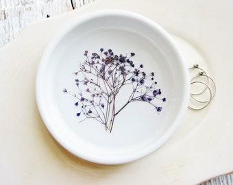 Purple Flower Ceramic Dish, Ring Holder, Ring Dish, Rustic Wedding Gift,  Jewelry Organizer