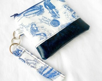 Somewhere Beyond the Sea Wristlet Clutch - Narwhal Mermaid  Blue Faux Leather Zipper Pouch