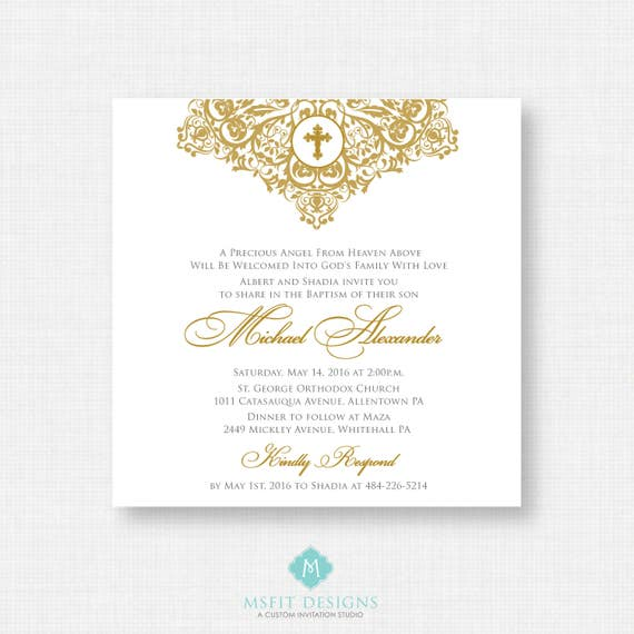 Printable Baptism Invitation- Gold Baptism Invitation - Baby Dedication, First Communion, Confirmation, Christening - Printable invitation