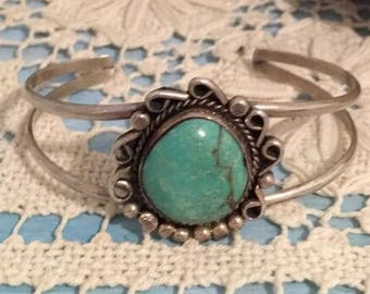 Vintage Baby Navajo Turquoise and Silver Bracelet