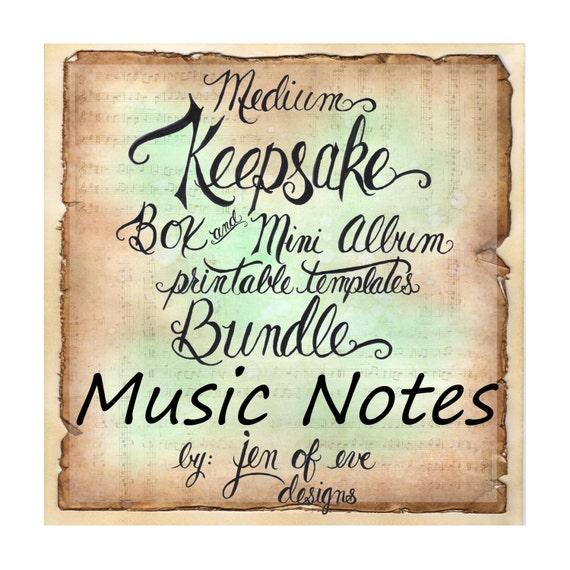 MEDIUM Keepsake Box & Mini Album Printable Template in MUSIC Notes and Plain