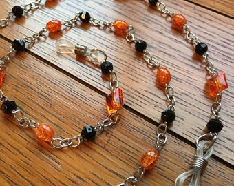 Eyeglasses Chain. Black and Orange.