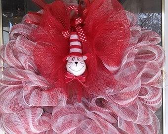 Cat in the Hat Ribbon Wreath