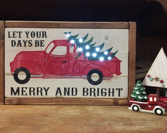 Vintage Truck Christmas Sign