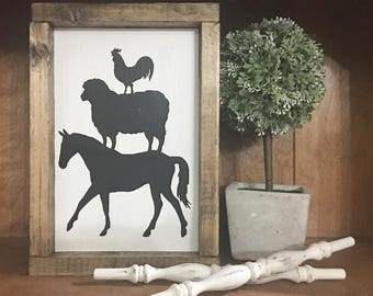 Horse Sheep Rooster Sign / Farmhouse / Farm  / Rustic / Framed sign