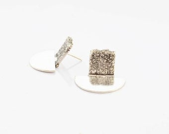 SIlver, textured,reticulated earrings.