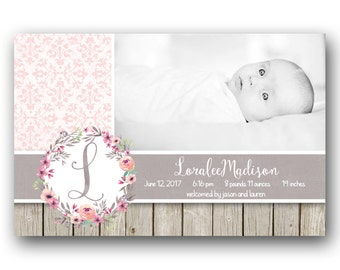Rustic Floral Baby Girl Birth Announcement - Custom Photo Printable Birth Card
